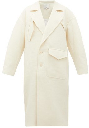 Tibi Basketweave Double-breasted Cocoon Coat - Ivory