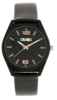 Crayo Unisex Dynamic Black Leatherette Strap Watch 36mm