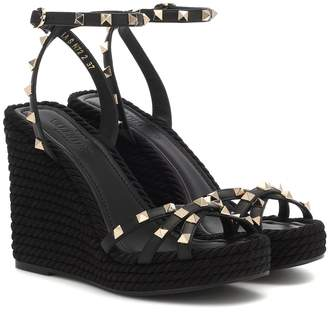 Valentino Garavani Rockstud Torchon leather wedge sandals