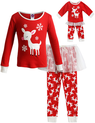 Dollie & Me Girls' Tutu Skirts and Pettiskirts RD/WH - Red & White Reindeer Tutu Pajama Set & Doll Outfit - Toddler & Girls