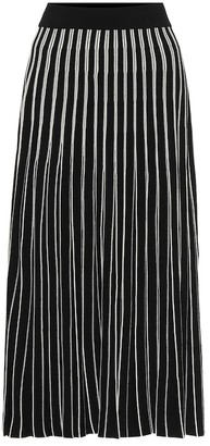 Tory Burch Pleated striped knit midi skirt