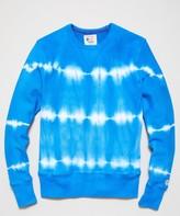 Todd Snyder + Champion Neon Tie Dye Reverse Weave Crewneck in Electric Blue