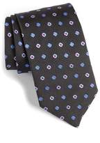 David Donahue Men's Neat Floral Medallion Silk Tie