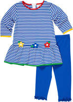 Florence Eiseman Stripe Knit Flower Applique Dress w/ Ruffle Trim Leggings, Size 2-6X