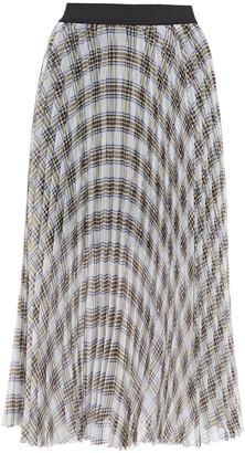 Maje Junga Pleated Checked Georgette Midi Skirt