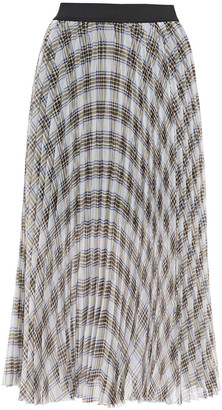 Maje Pleated Prince Of Wales Checked Crepe De Chine Midi Skirt