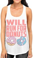 Interstate Apparel Inc Junior's Will Run For Donuts Tee B498 White Racerback Tank Top