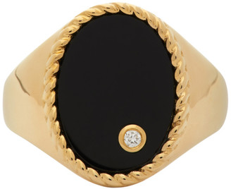 Yvonne Léon Gold and Black Oval Signet Ring