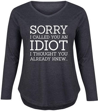 Instant Message Plus Women's Tee Shirts HEATHER - Heather Charcoal 'Sorry I Called You' Long Sleeve Tee - Plus