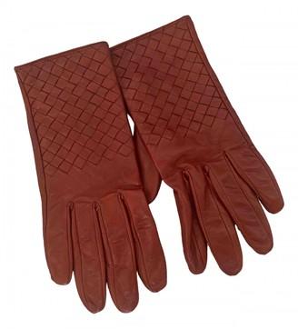 Bottega Veneta Red Leather Gloves