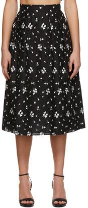 Erdem Black Embroidered Reed Skirt