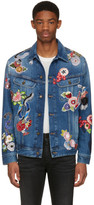 Saint Laurent Blue Denim Love Patch Jacket