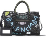 Balenciaga Small City Graffiti Leather Satchel