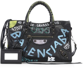 Balenciaga Small City Graffiti Leather Satchel