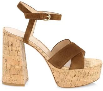 Gianvito Rossi Suede & Cork Platform Sandals