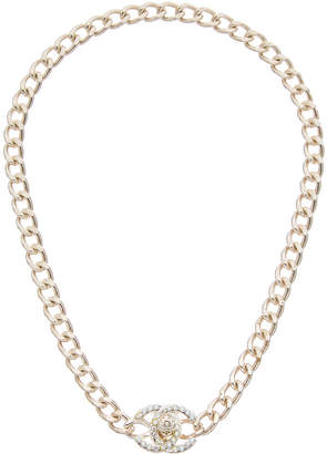 Chanel Silver-Tone & Crystal Long Turnlock Necklace