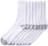 Joe Fresh Men's 8 Pack Crew Socks, White (Size 10-13)