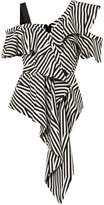 Self-Portrait SelfPortrait - Asymmetric Striped Crepe Top