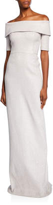 Rickie Freeman For Teri Jon Off-the-Shoulder Short-Sleeve Metallic Jacquard Column Gown