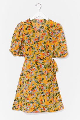 Nasty Gal Womens What Bud We Do Floral Mini Dress - Yellow