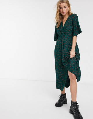 Blend She wrap maxi dress in green