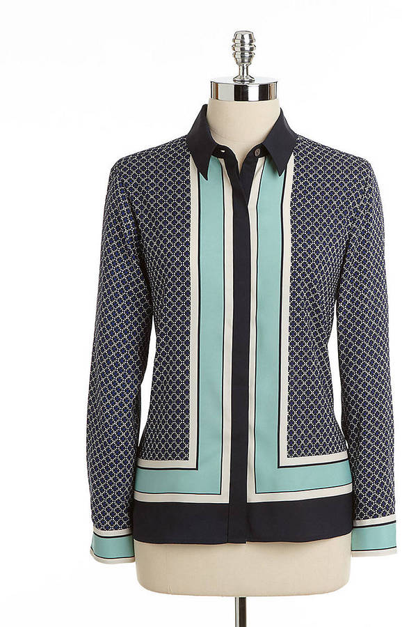Vince Camuto Petites Printed Button-Down Blouse