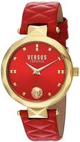 Versus By Versace Women's 'COVENT GARDEN' Quartz Stainless Steel and Leather Casual Watch, Color:Red (Model: SCD060016)