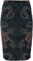 Yigal Azrouel woven serpent jacquard skirt - women - Polyamide/Polyester/Cupro - 0