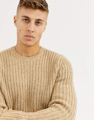 Asos Design DESIGN heavyweight fisherman rib sweater in camel-Brown