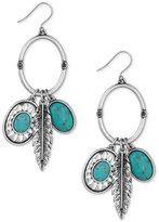 Lucky Brand Silver-Tone Charm Gypsy Hoop Earrings