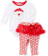 Baby Essentials Red Santa Bodysuit & Skirted Leggings - Infant
