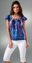 ADAM Short Sleeve Gathered Blouse
