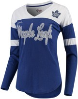 G Iii Women's G-III 4Her by Carl Banks Blue/White Toronto Maple Leafs Tri-Blend Redzone Long Sleeve V-Neck T-Shirt