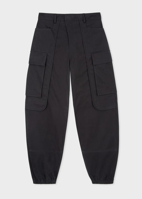 Men's Black Brushed-Cotton Cargo Trousers