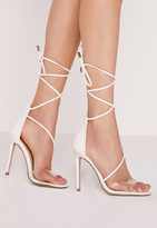 Missguided Perspex Toe Strap Lace Up Barely There White