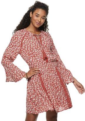 American Rag Juniors' Bell Sleeve Cheetah Print Peasant Dress