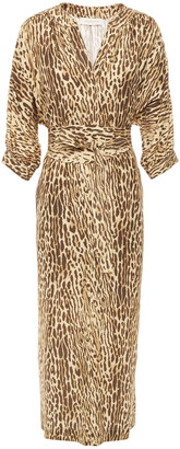 Zimmermann Espionage Belted Leopard-print Silk Crepe De Chine Midi Dress