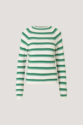 Samsoe & Samsoe Samsoesamsoe SamsoeSamsoe - Zande Beryl Green striped sweater - m | cotton | white | green - White/White