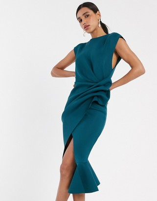 Asos DESIGN t-shirt tuck pencil midi dress with pep hem in teal