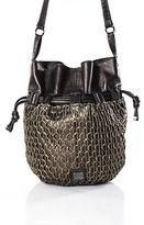 Kooba Brown Leather Woven Detail Bucket Handbag Medium Sized Includes Dust Bag
