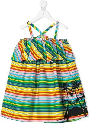 Msgm Kids Striped Ruffle-Trimmed Dress