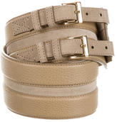Burberry Suede-Accented Pebbled Leather Belt