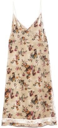 R 13 Back Tie Slip Dress with Hem Detail in Ecru Floral