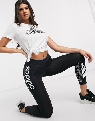 adidas Training logo 7/8 leggings in black