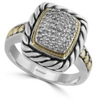 Effy Diamond, Sterling Silver and 18K Yellow Gold Ring