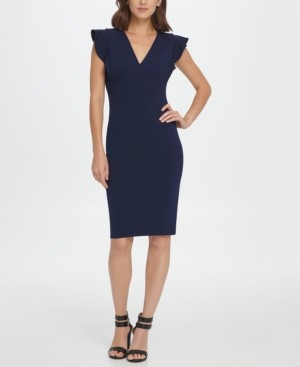 DKNY V-Neck Ruffle Cap Sleeve Sheath