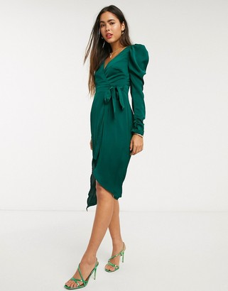 Liquorish wrap dress with puff sleeves