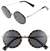 Valentino Women's 52Mm Crystal Embellished Round Sunglasses - Gold/ Grey