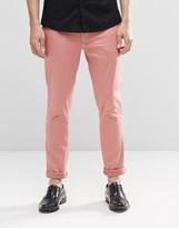 Asos Super Skinny Pants In Cotton Sateen In Pink
