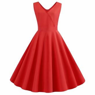 Wellwits Women's Solid V Neck V Back Faux Wrap Tie Waist Vintage Dress Royal L